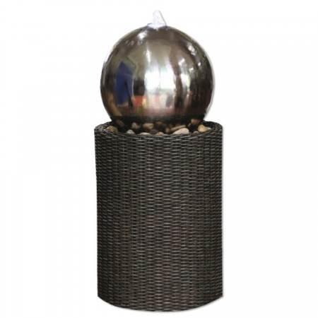 Medium-Stainless-Steel-Sphere-on-Wicker-Column
